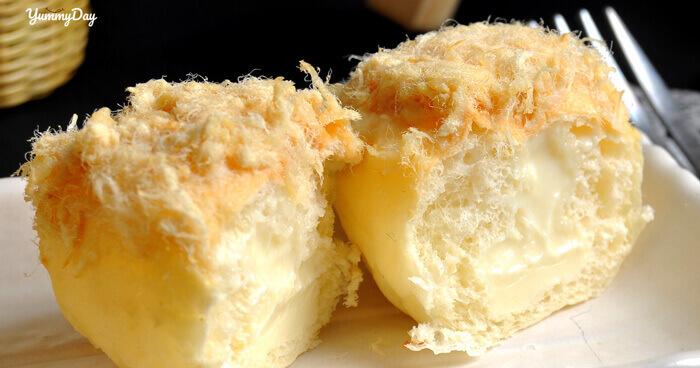 Cách làm bánh mì phô mai tan chảy phủ chà bông ăn cực ngon