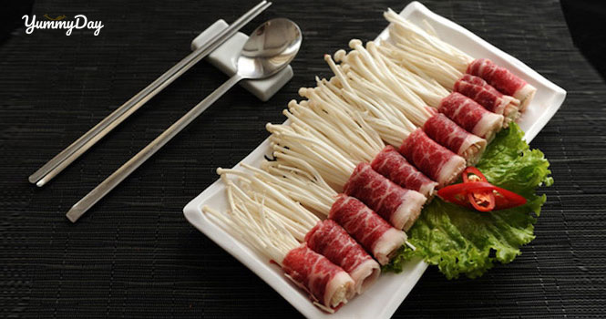 Cách làm bò cuộn nấm kim châm nướng siêu ngon tại nhà