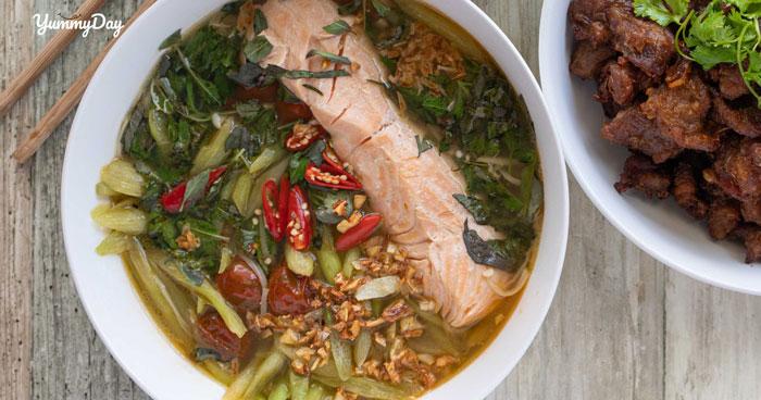Cách nấu canh chua cá hồi ngon không thể cưỡng lại nổi