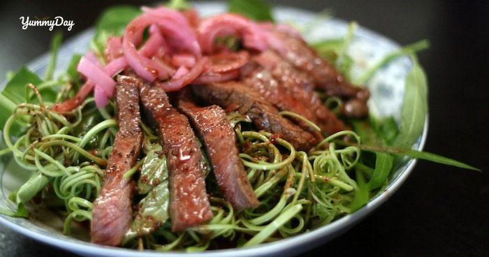Cách làm nộm rau muống thịt bò đơn giản tại nhà